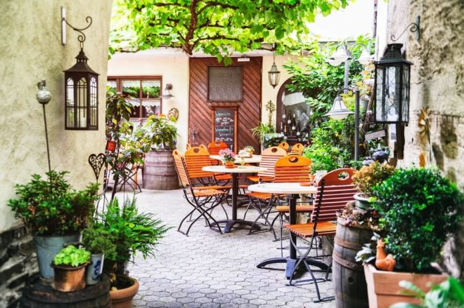 Hinterhof Café Kaffee in Italien