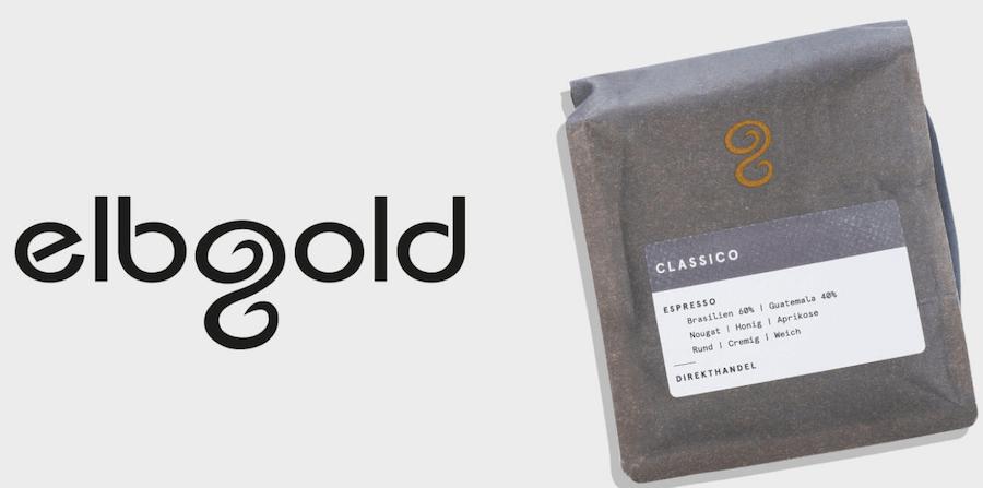 Elbgold Kaffee Logo und Kaffeepackung