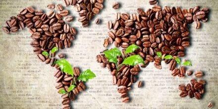 Weltkarte Afrika Kaffeebohnen