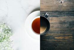 Tasse Kaffe und Tasse Tee