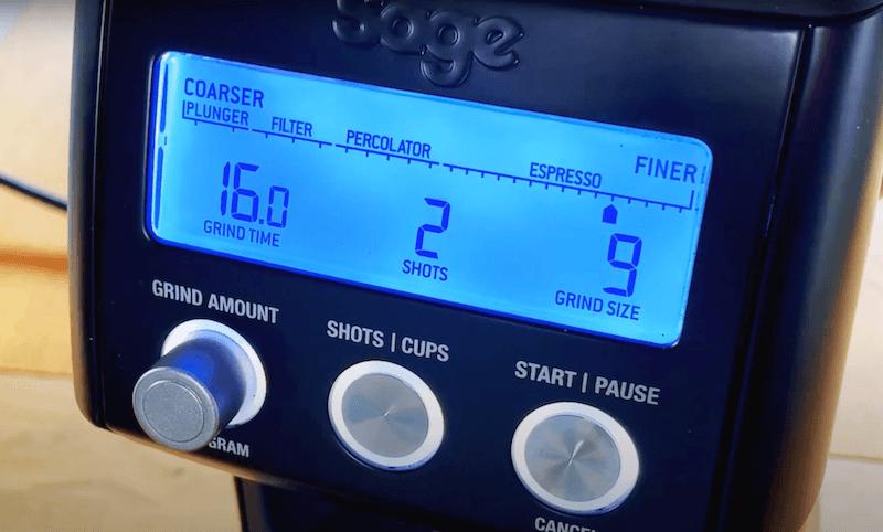 LCD Display des Sage Smart Grinder Pro Kaffeemühle im Test