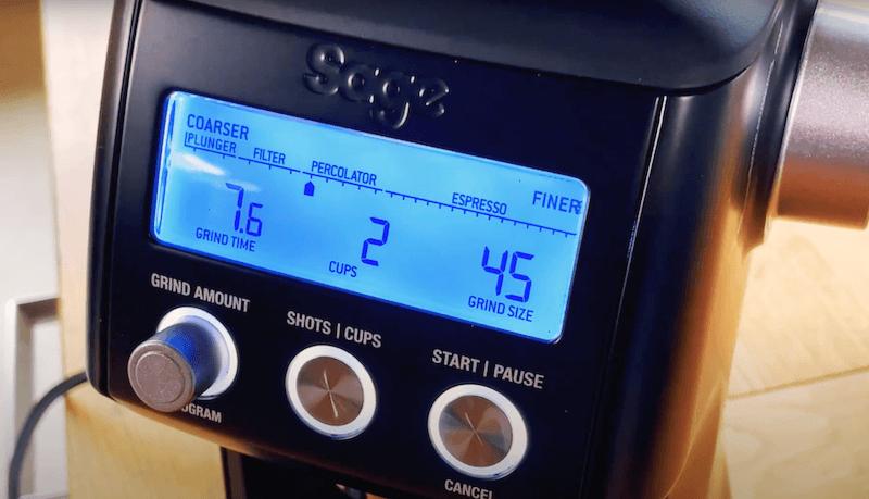 Sage Smart Grinder Pro Kaffeemühle LCD Display mit Filterkaffee Einstellung